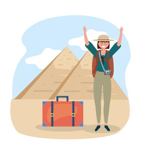 Woman in front of Egyptian pyramids vector