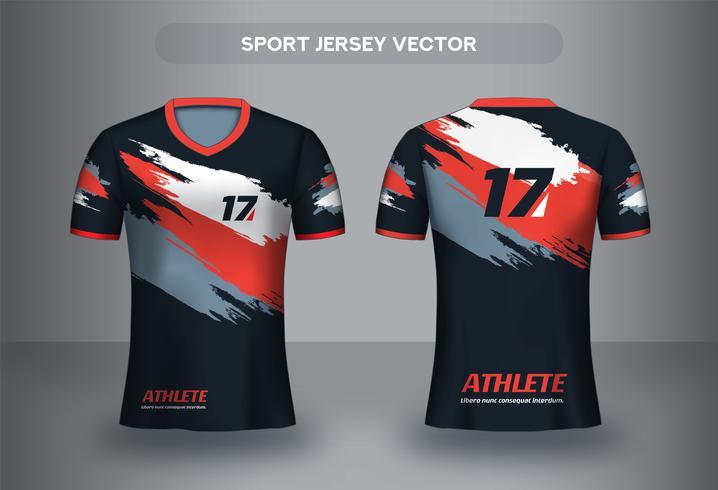 Pinselstrich Fußball Trikot Design. Einheitliche T-Shirt Vorder- und Rückseite. vektor