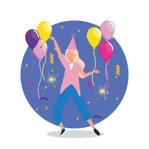 Donna che balla con palloncini e cappello da festa vettore