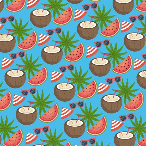 Kokosnussgetränk mit nahtlosem Hintergrund der Wassermelone und der Sonnenbrille
