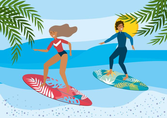 Woman and man surfing