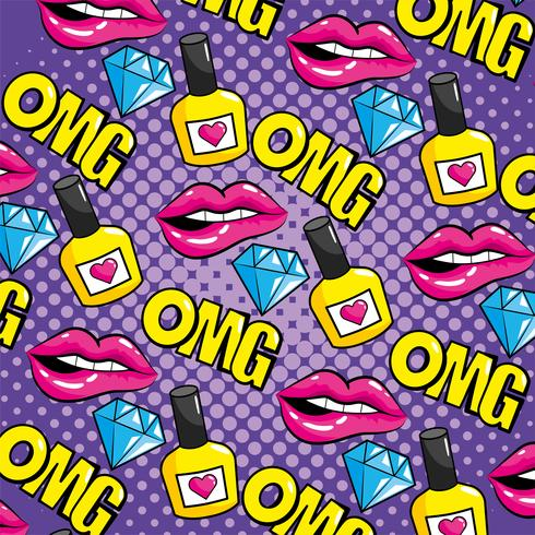 Pop art labios y omg mensaje de patrones sin fisuras vector