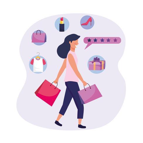 Mujer con bolsas de compras e iconos de compras