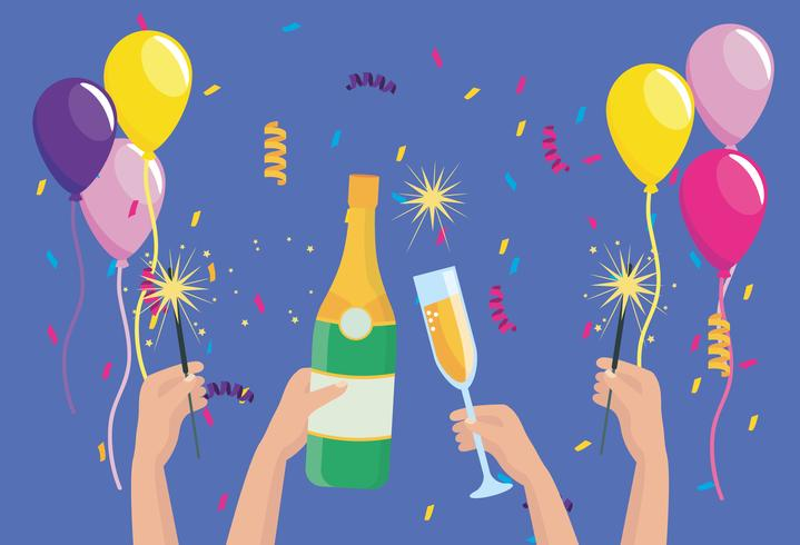 Mãos com garrafas de champanhe e copos vetor