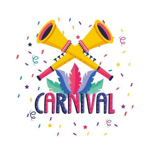 Cartel de celebración de carnaval con trompetas