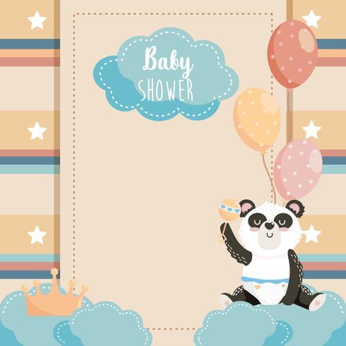 Cartão de chuveiro de bebê em branco com panda