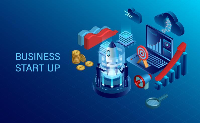 concepto de inicio con hombres de negocios, cohetes, computadoras portátiles y otros artículos de negocios