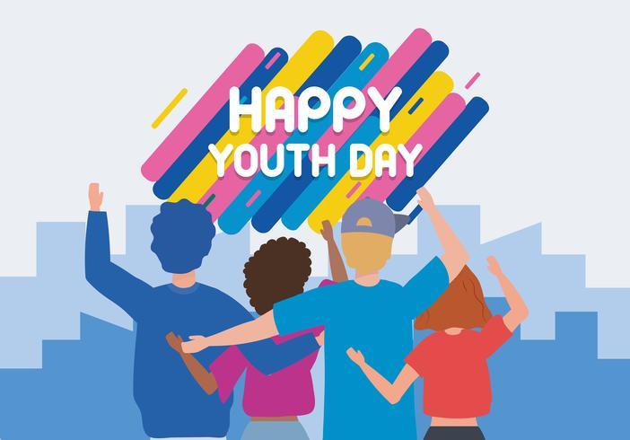 Cartel feliz del día de la juventud con jóvenes