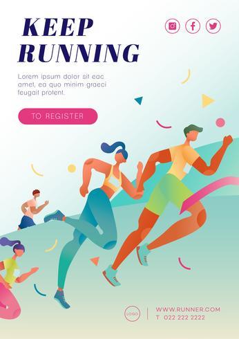 Affiche de course au marathon vecteur