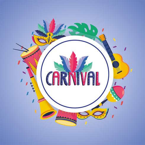 Carnival badge with mask and drum vector