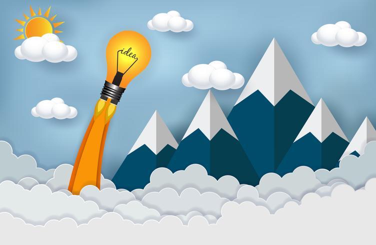 gloeilamp lancering in de lucht door wolken en bergen