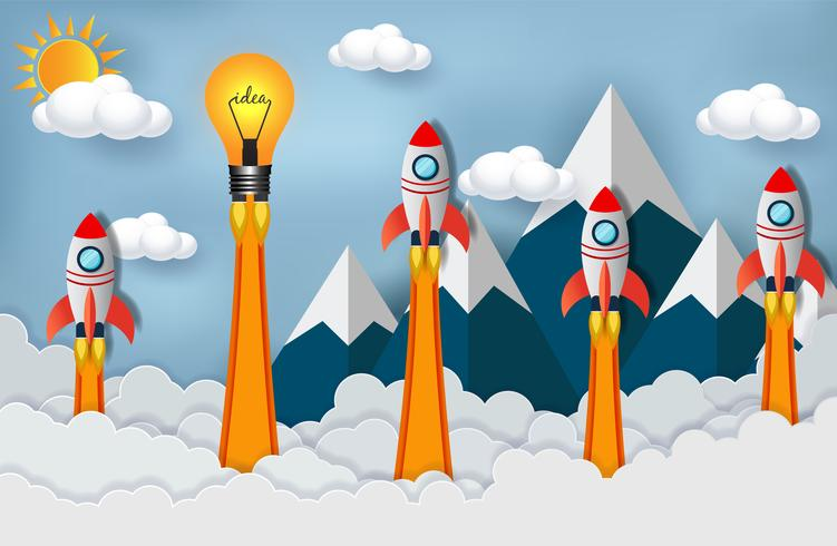 space shuttles and light bulb competing for success in clouds vector