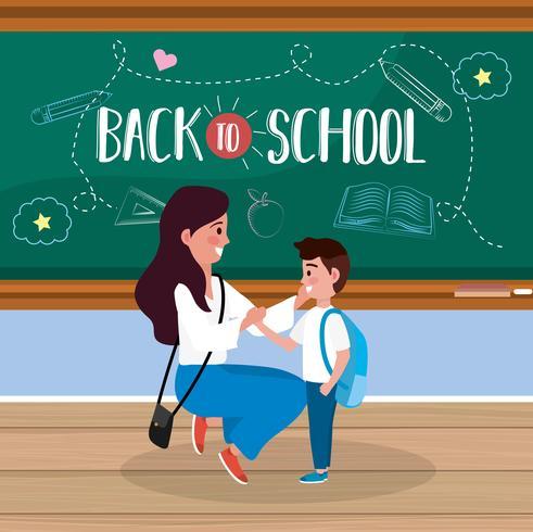 Volta ao cartaz da escola com mãe e filho