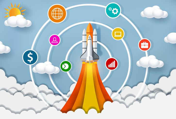 space shuttle launching into the sky with circles and icons vector