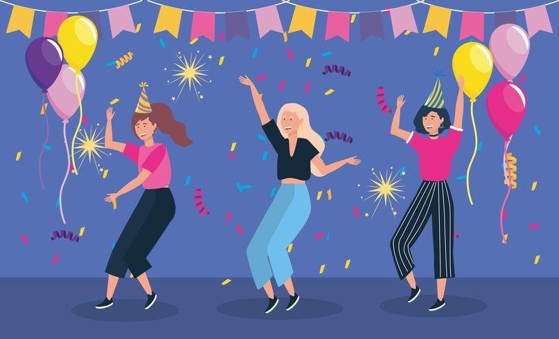 Mujeres bailando con pancarta de fiesta y globos vector