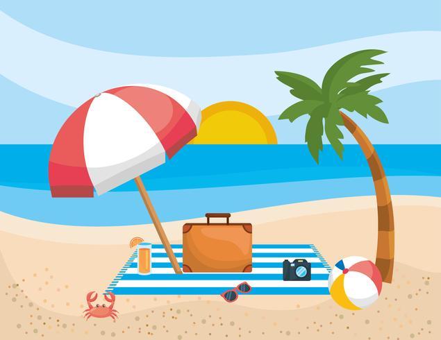 Palmera con sombrilla y maletín en la playa