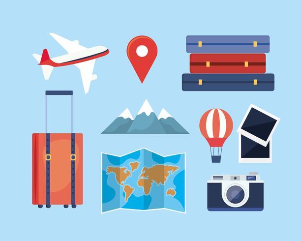 Ensemble d'icônes d'aventure de voyage et éléments vecteur