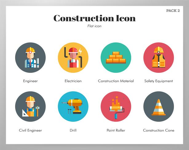 Construction icons flat set vector