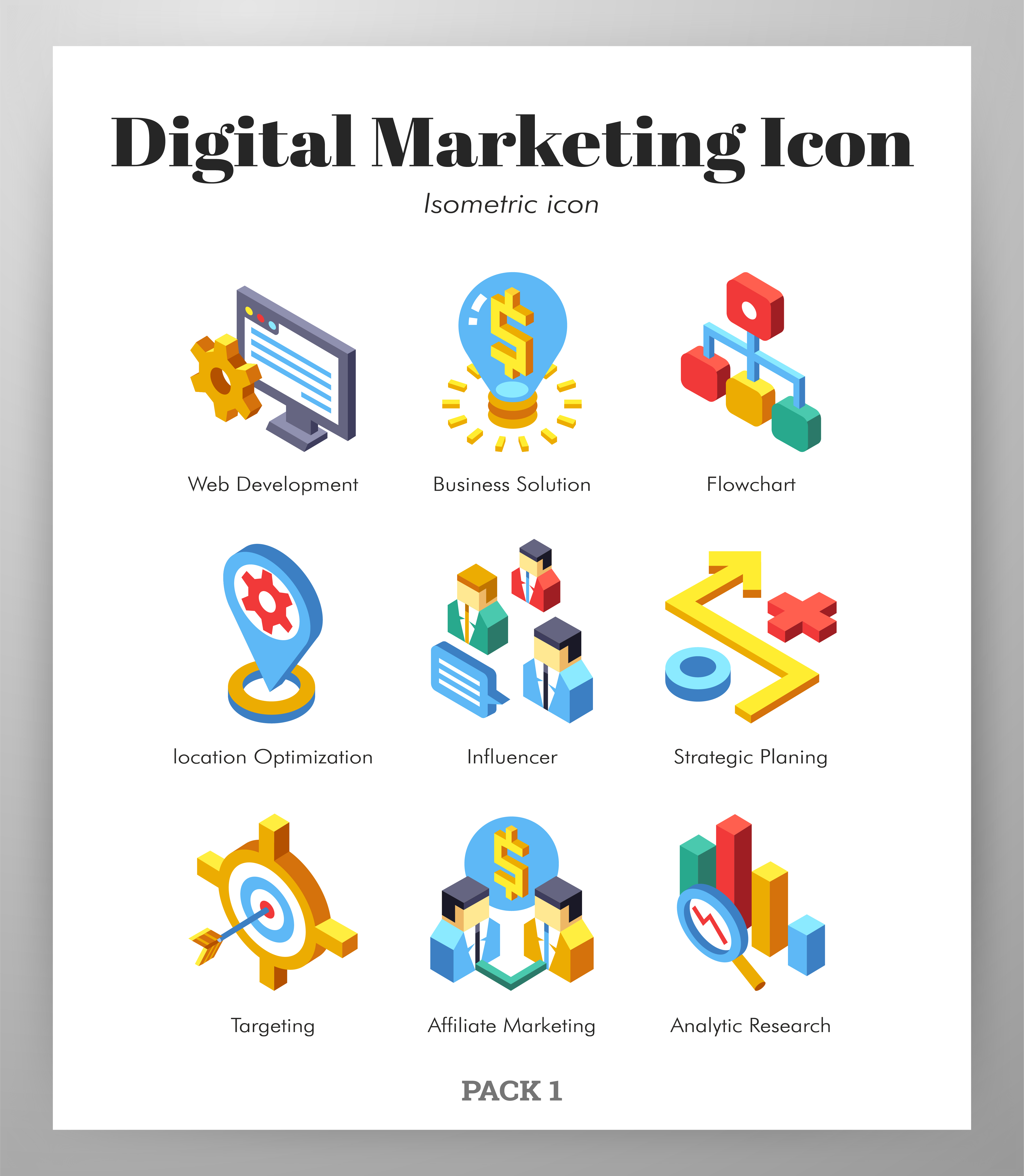 Digital marketing icons Isometic pack - Download Free ...