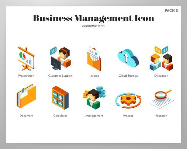 Business management icons Isometric set