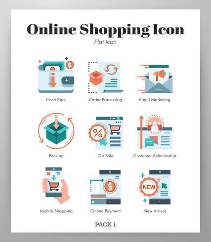 Set di icone dello shopping online vettore