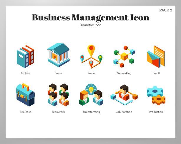 Pack de iconos de gestión empresarial isométrica
