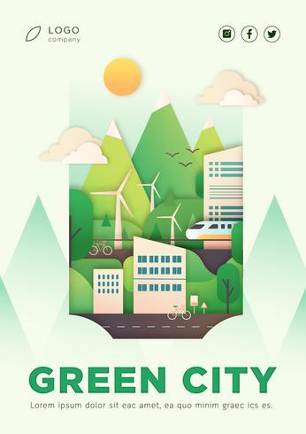 Diseño de póster de aterrizaje de ciudad ecológica