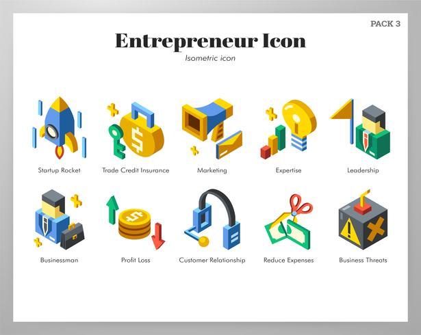 Conjunto isométrico de los iconos de empresario