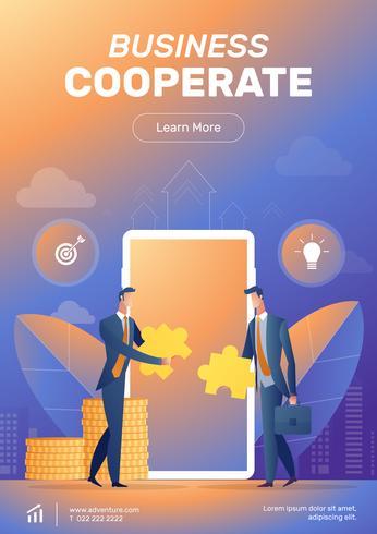 Diseño de cartel cooperar empresario