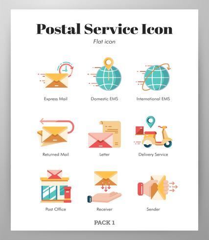 Conjunto de ícones de serviço postal vetor