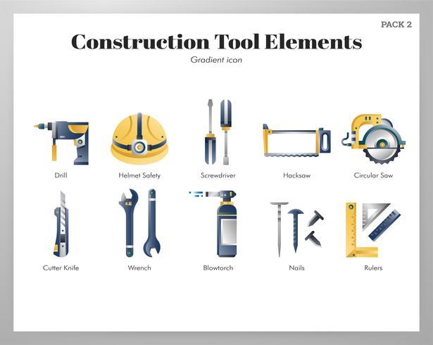 Construction tool elements gradient pack vector