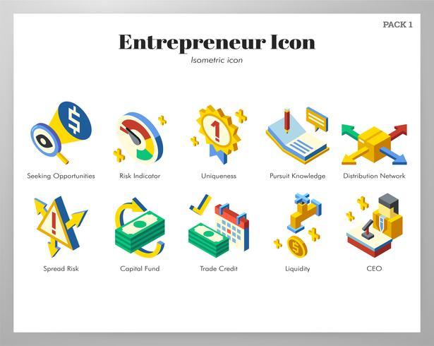 Iconos de empresario isométrico
