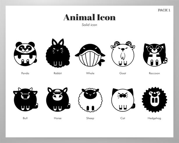 Animal icon solid pack vector
