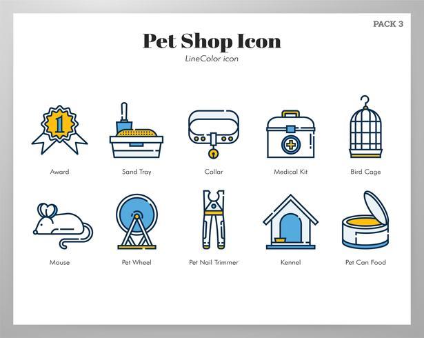 Conjunto de iconos de tienda de mascotas vector