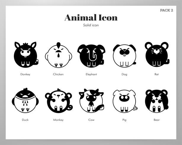 Pacote sólido de ícone animal vetor