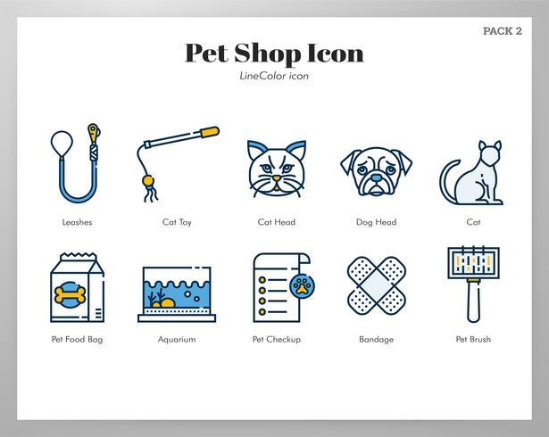 Pet shop icon LineColor pack vector