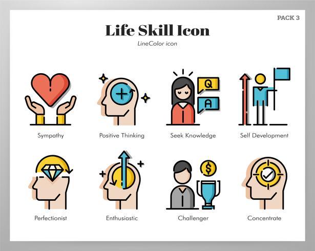 Conjunto de iconos de habilidades de vida vector