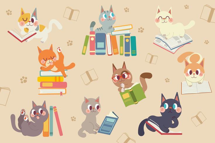 Söt tecknad kattkaraktär som läser ett bokpaket