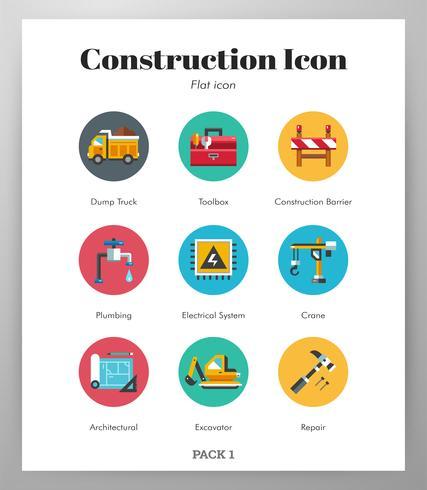 Pack plano de iconos de construcción vector