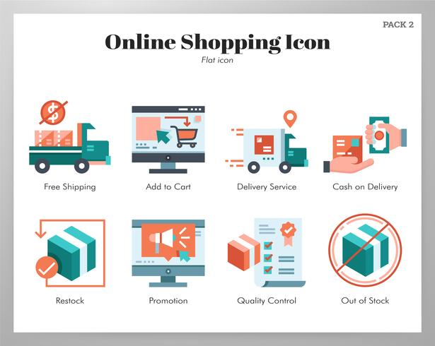 Online shopping icons flat pack