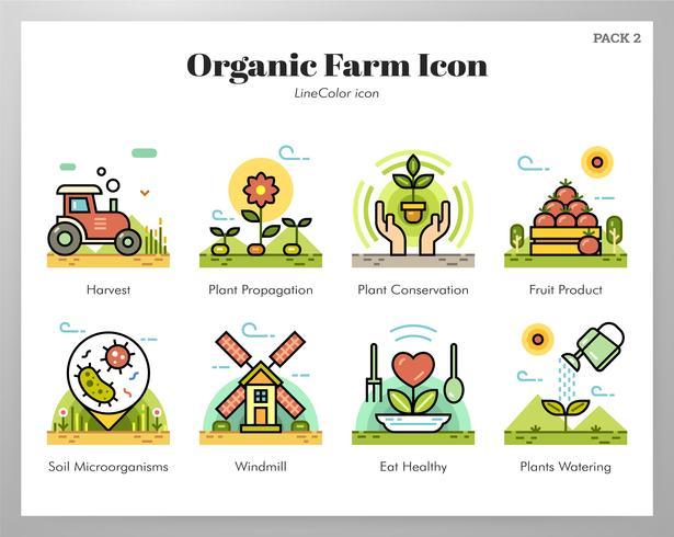 Set di icone di fattoria biologica