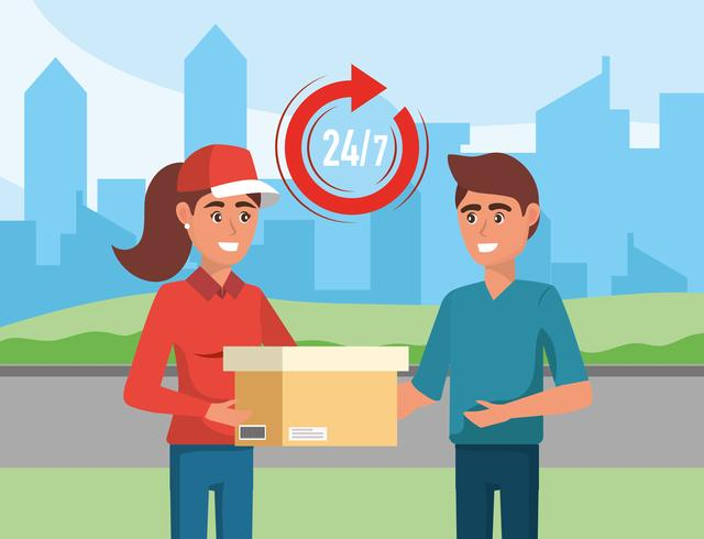 Delivery woman handing box to man