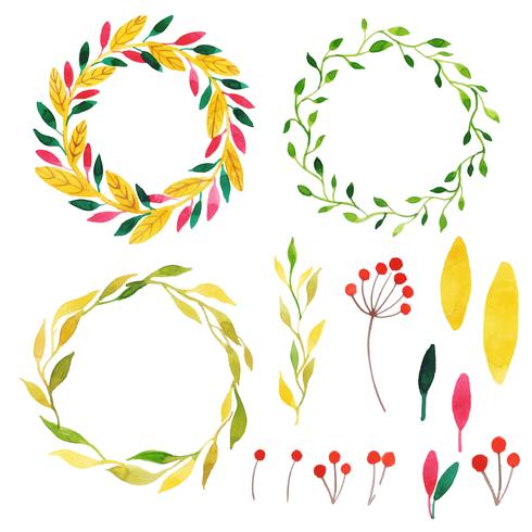 Beautiful Watercolor Autumn Wreath Collection