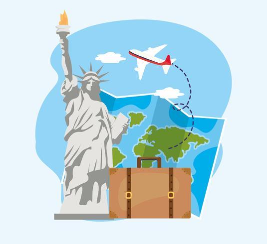 Statua della libertà con mappa globale e valigia vettore