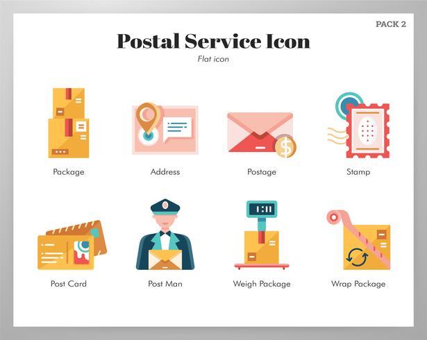 Paquete plano de iconos de servicio postal