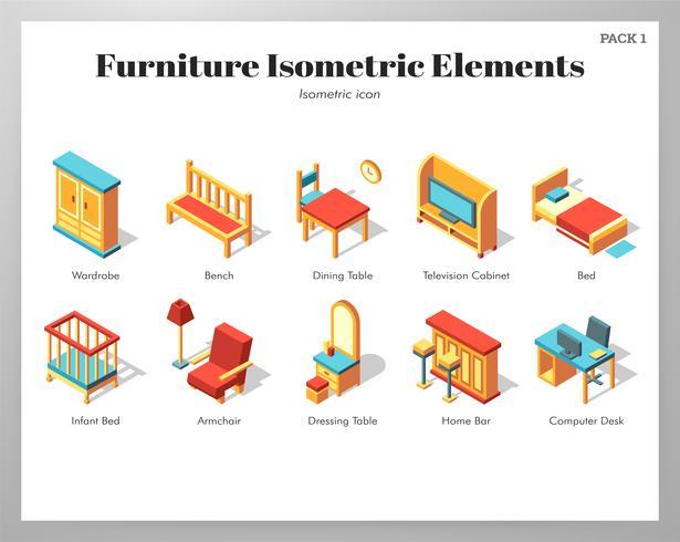 Elementos de muebles Pack isométrico