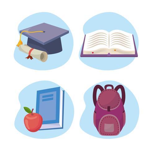 Conjunto de objetos de escola