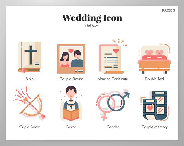 Paquete plano de iconos de boda