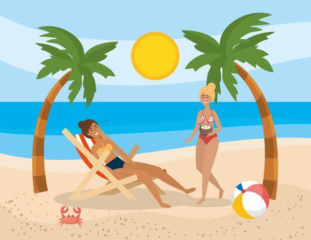 Dos mujeres pasando el rato en la playa vector
