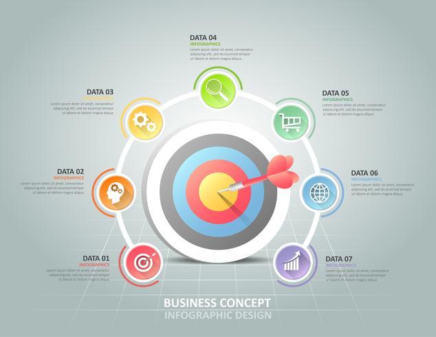 Infographie en cercle avec 7 options Target Design
